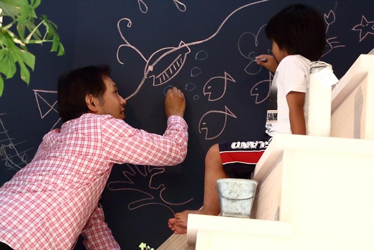 落書きOKの黒板壁